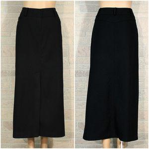 River Island Black Wool Front Slit Career Skirt